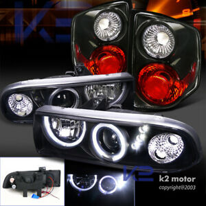 Black 98 04 Chevy S10 Halo Smd Projector Headlights rear Tail Lights