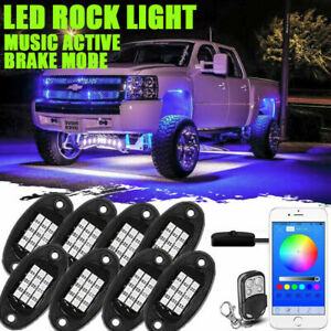 8pcs Rgb Led Rock Lights Kit Underbody Neon Light Pods Bluetooth App