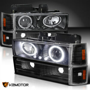 For 94 98 C K Yukon Sierra Led Halo Black Projector Headlights Corner Bumper