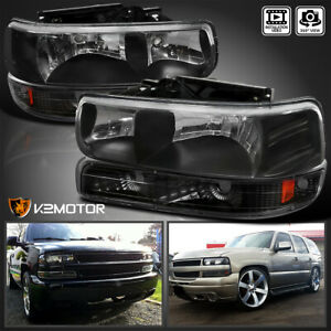 For 1999 2002 Silverado 2000 2006 Tahoe Suburban Black Headlights bumper Lights