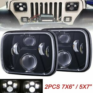 Pair Dot 7x6 5x7 Led Headlight Hi lo Projector For Jeep Cherokee Xj Chevrolet