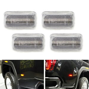 Clear Lens Amber Red Led Rear Fender Marker Lights For 15 Chevy Gmc 2500 3500hd