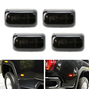 Smoke Lens Amber red Led Rear Fender Marker Lights For 15 Chevy Gmc 2500 3500hd