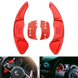 Red Cnc Steering Wheel Paddle Shifter Extension Covers For 15 up Vw Mk7 Gti golf