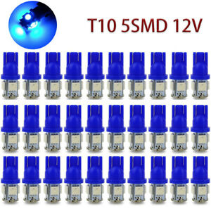 20x Blue T10 5050 5smd Led Bulbs 194 168 192 Car Wedge Tail Licence Plate Light