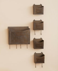 Rustic Bronze Metal Wall Organizers Office Art Mail Holder 5 pc Country Decor