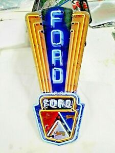 Ford Sign 24 X 11 Neon Style Sign In Steel Metal Jubilee Mustang Truck Garage