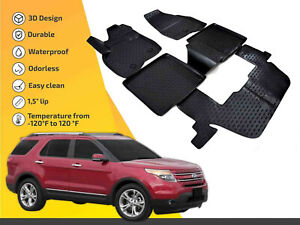 3d Floor Liner Mats Tpe For Ford Explorer 2011 2014 5pc Full Set