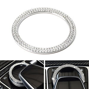 Crystal Silver Center Console Multimedia Controller Knob Cover For Mercedes C E
