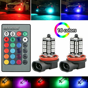 2x H11 H9 H8 27smd 5050 Multi Color Rgb Led Fog Lights Driving Bulbs Lamp Remote