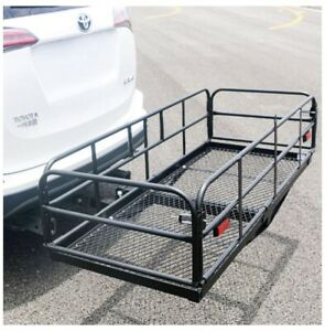 Universal Folding Hitch Mount Cargo Carrier Mounted Basket Rack Fits 2 Receiver