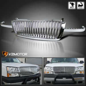 For 2003 2005 Chevy Silverado 1500 2500 3500 Chrome Vertical Front Hood Grille
