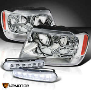 For 199920 04 Jeep Grand Cherokee Clear Headlights 3w 6 Led Bumper Drl Fog Lamps