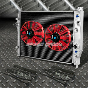 2 row Aluminum Radiator 2x 12 fan Red For 96 02 Chevy Camaro pontiac Firebird