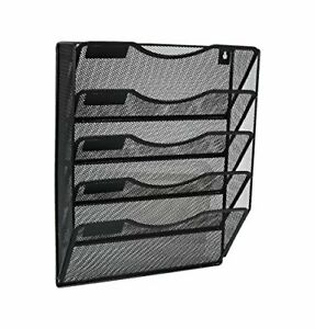 Denozer Mesh 5 Slot Wall Mount Hanging File Organizer Holder Magzine black