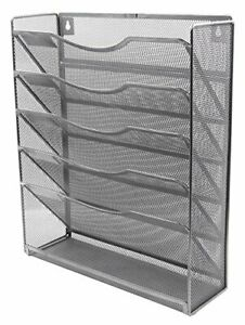 Easypag 5 Tier Mesh Wall Hanging File Holder Organizer Magzine upgrade Silver