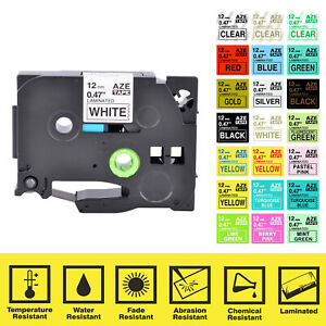 Label Tape Compatible For Brother P touch Tz Tze Pt e300 6 9 12 18 24 36mm