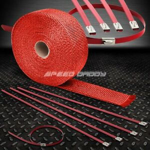 25 7 5m 2 W Cat Back Exhaust Header Red Heat Wrap Stainless Zip Tie Cable