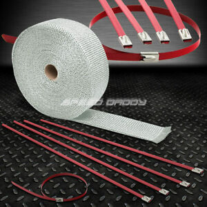 32 10m 2 w Cat Back Exhaust Header White Heat Wrap stainless Red Zip Tie
