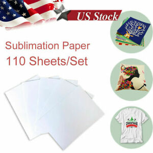 110pcs A4 Dye Heat Sublimation Transfer Paper For Iron On Mugs Cotton Polyester