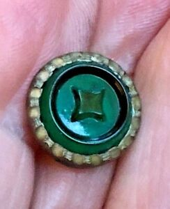 Antique Waistcoat Glass Set In Metal Button Cheshire Jewel 28 Green 1 2