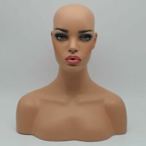 Realistic Fiberglass Beach Skin Female Mannequin Head Bust For Wigs