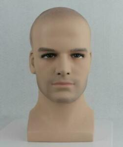 Fiberglass Male Mannequin Head Bust For Wig sunglass And Hat Display
