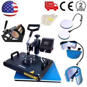 5in1 12 x15 Combo Heat Press Sublimation Print Machine Swing Away T shirt Mugs