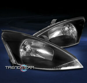 For 2000 2001 2002 2003 2004 Ford Focus Replacement Headlights Lamps Black Lh rh
