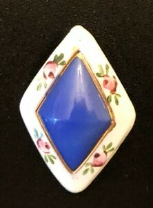 Unusual Antique Glass Button Diamond Shaped Blue Glass White Border Pink Roses