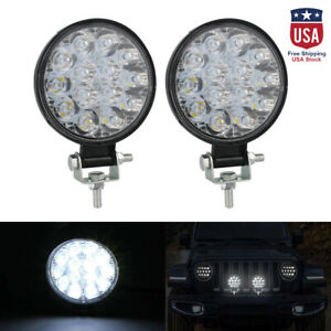 2pcs 42w Led Work Light 12 24v Offroad Truck Tractor Boat Suv Ute Spot Lamp Set