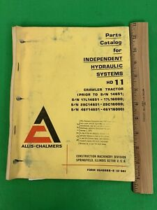 Allis chalmers Hd 11 Independent Hydraulic Crawler Tractor Parts Catalog