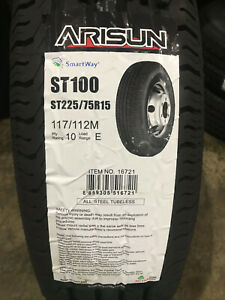 2 New St 225 75 15 Lre 10 Ply Arisun St100 Radial Trailer Tires