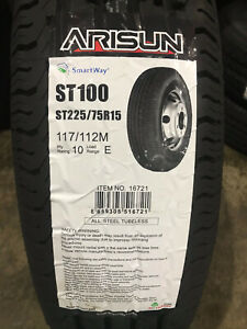 4 New St 225 75 15 Lre 10 Ply Arisun St100 Radial Trailer Tires