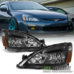 For Black 2003 2007 Honda Accord 2dr 4dr Crystal Headlights Headlamps Left Right