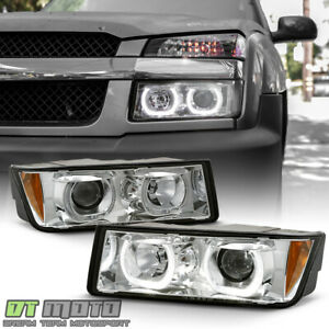 New 2002 2006 Chevy Avalanche 1500 2500 Led Halo Projector Headlights Headlamps