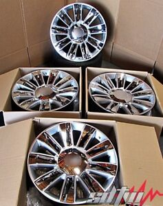 22 Platinum Style Silver Chrome Inserts Wheels For Cadillac Escalade Set 4