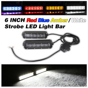 6 120w Strobe Led Light Bar Flash Driving Warn Lights Amber red blue Off Road