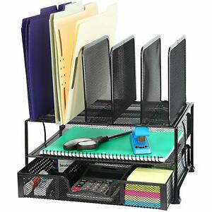 Black Mesh Desk Organizer With Sliding Drawer Double Tray 5 Upright Sections