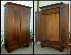 Antique Huge Solid Walnut Wood Cathedral Arch Wardrobe Armoire Square Nailed