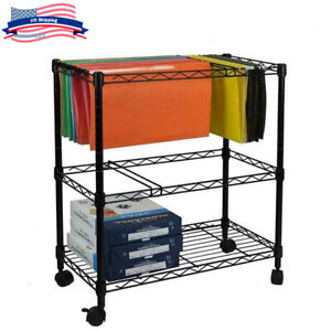 Office Wheeled File Documents Organizer Cart Metal Rolling Holder Storage 2 tier