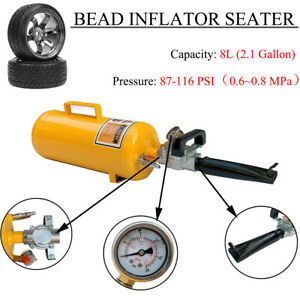 Handheld Tire Bead Inflator Seater Air Blaster Tool With Trigger 8l116psi Yellow