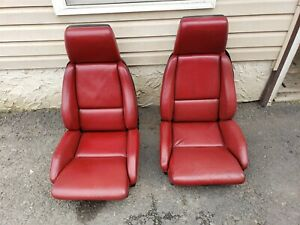84 85 Corvette C4 Leather Seats Dark Red Barely Used Complete Pair