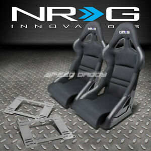 Nrg Deep Bucket Racing Seats Cushion Stainless Steel Brackets For Bmw E36 2dr
