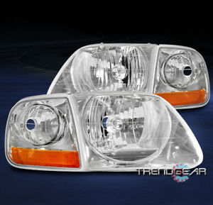 For 1997 2003 Ford F 150 2002 Expedition Headlights Headlamps corner Lamp Chrome