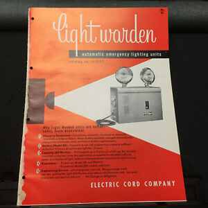 Vtg Electric Cord Co Brochure Light Warden Emergency Exit Signs 1957 Catalog