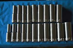 Craftsman 20 Pc New Style 1 2 In Drive 12 Pt Sae metric Deep Sockets Ts 356
