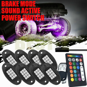 Led Under Car Glow Underbody Neon Glow Strip Lights Remote Kit Stop Function