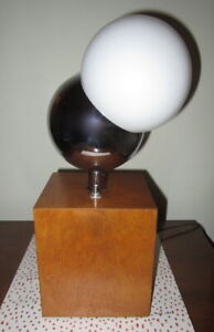 Vintage Mid Century 1960 S Ball Lamp Chrome With Square Walnut Base