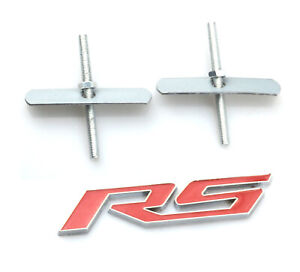 1pc Red Grille Rs Emblem Badge 3d Sticker Logo For Chevrolet Camaro Series